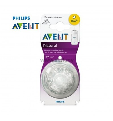 AVENT Natural Newborn Flow Teat 0m+ (1 Hole) Twin Pack