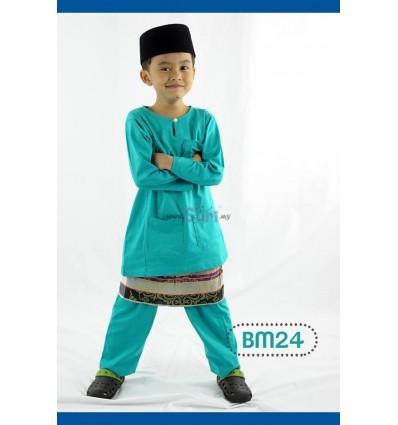 Baju Melayu Kain Tshirt BM24-Biru
